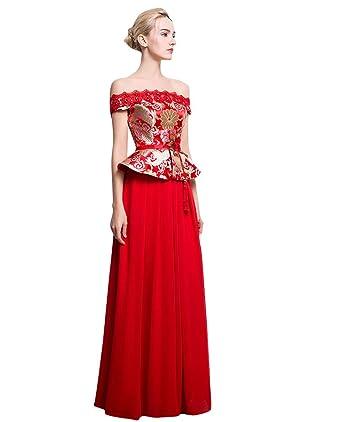 Beauty-Emily Peplum Boat Neck Brocade Chinese Style Wedding Dresses ...