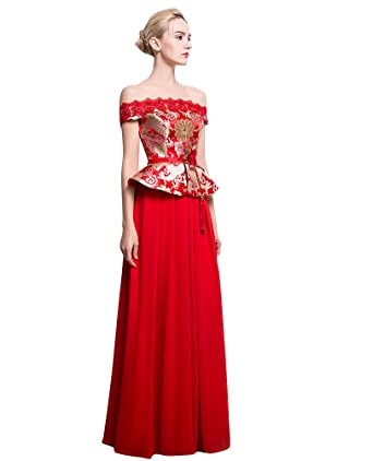 Beauty-Emily Peplum Boat Neck Brocade Chinese Style Wedding Dresses at  Amazon Women s Clothing store  4d7c7f63c