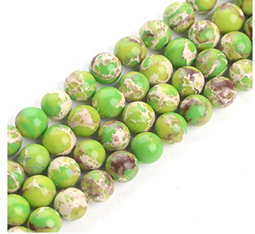 Top Quality Natural Peridot Green Sea Sediment Jasper Gemstone Loose Beads 8mm Round Loose Beads 15.5