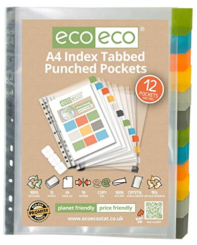 (eco-eco A4 95% Recycled Clear Index Tabbed Premier Punched Pockets 1 x)