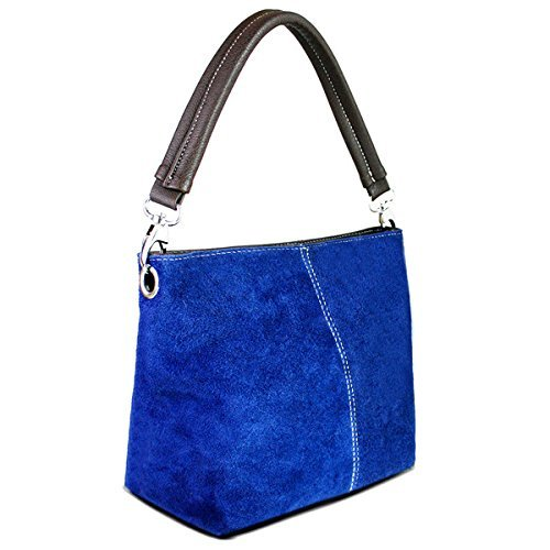 Womens Small Genuine Italian Suede Leather Hobo Slouch Bucket Shoulder Bag Single Strap Blue