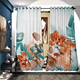 magnificent dressing room closet design Waterproof Window Curtain Tropical Orchids Blossom Leaves on Blurred Background Floral Themed Modern Art Decorative Curtains for Living Room W108 x L84 Orange Teal