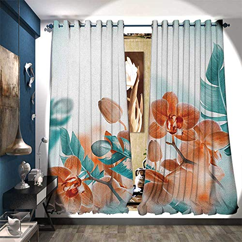 Waterproof Window Curtain Tropical Orchids Blossom Leaves on Blurred Background Floral Themed Modern Art Decorative Curtains for Living Room W108 x L84 Orange Teal