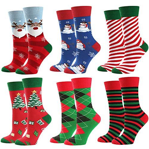 Christmas Socks Women, Halloween Socks, Christmas Gifts for Women,Funny Novelty Skeleton Socks Women Casual Socks 6 Pack