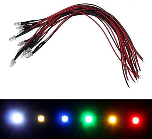 10x Superhelle Leds 5mm Rot Für 24v 20cm Kabel 3000 5000mcd 45 Beleuchtung