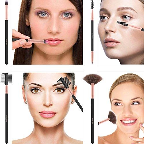 EmaxDesign Makeup Brushes 17 Pieces Premium Synthetic Foundation Brush Powder Blending Blush Concealer Eye Face Liquid Powder Cream Cosmetics Brushes Kit (Rose Gold) by EmaxDesign (Image #5)