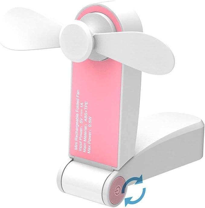 Noir Mini Ventilateur Rechargeable avec 3 Vitesses pour Chambre//Bureau//Ext/érieur Fan de Poche Puissant HAMKAW Ventilo /à Main Silencieux avec Base D/étachable