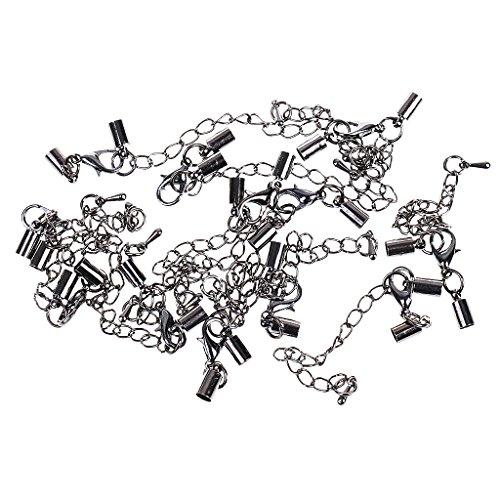 - SM SunniMix 12pcs Hematite Lobster Clasp and Leather Cord End Cap Tube 4mm for Bracelet Necklace DIY