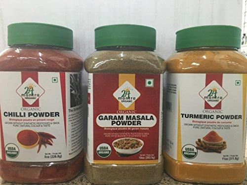 Organic Combo Spice Pack in Jars - Turmeric Powder (11 Oz) , Chilli Powder (8 oz) & Garam Masala Powder (10 oz) by 24 MANTRA