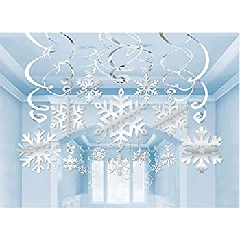 Frozen Christmas Decorations.35pcs Christmas Decorations Silver Snowflake Decorations Hanging Swirl Christmas Ornaments Winter Wonderland Frozen Birthday Party Supplies Winter
