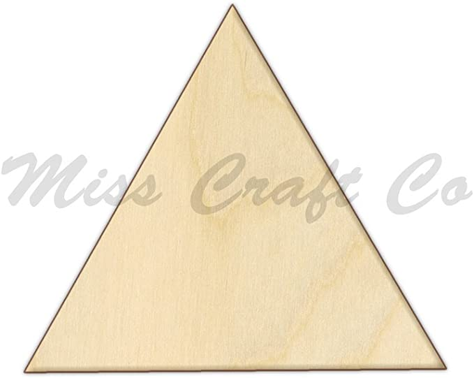 Laser Cut Out Unfinished Wood Shape Craft Supply BSC6 Triangle