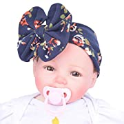 Fullkang Baby Infant Kids Girls Bowknot Hairband Turban Bowknot Headwrap Hairband (Navy)
