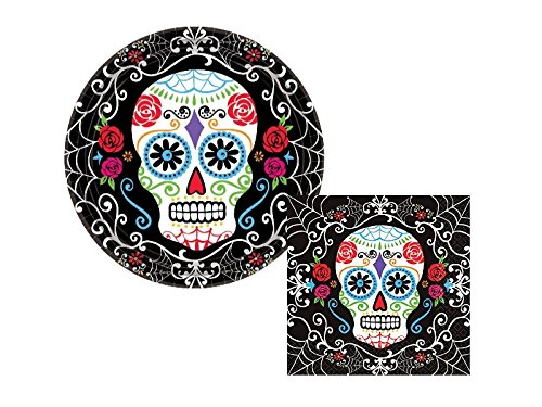 Day of the Dead Halloween Party Pack! 18 Dessert Plates & 36 Beverage Napkins]()