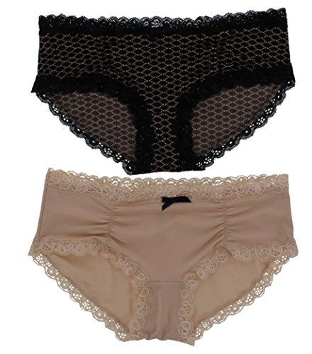 Intimates de Marilyn Monroe de la mujer rocuhed Hipster bragas, 2PR, Black Tan