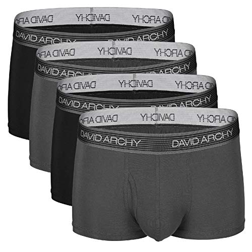 (David Archy Men's 4 Pack Ultra Soft Micro Modal Underwear Breathable Trunks with Fly (M, Black/Dark Gray))