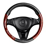 Image of Black Universal Steering Wheel Cover Deluxe fits 14 inch Small Size - Light Wood Grain