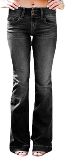 gawaga 女性デニムフレアパンツベルトラウザーズミッドウエストストレッチジーンズパンツ