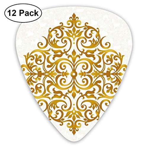 (Guitar Picks 12-Pack,Victorian Style Traditional Filigree Inspired Royal Oriental Classic Print)