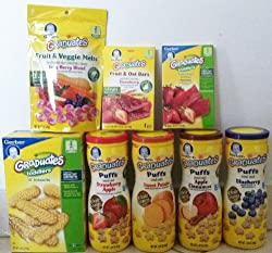 Gerber Graduates Variety Snack Pack (Includes Includes 4 Puffs, 1 Lil' Biscuits, 1 Fruit and Veggie Melts, 1 Fruit Strips, 1 Fruit and Oat Bars)