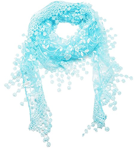 JSL Lace Tassel Sheer Mesh Floral Print Lightweight Triangle Scarf Shawls and Wraps 10 - Sheer Floral Scarf