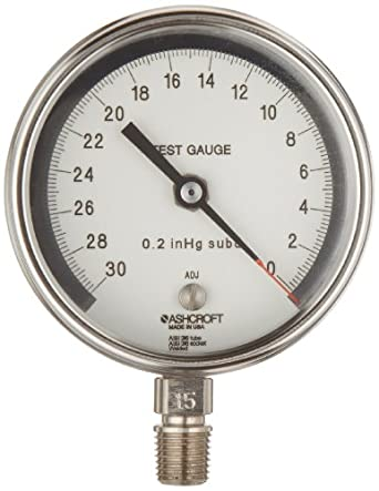 "Ashcroft 30 Test 3"" 316 Stainless Steel Vacuum Gauge -30/0 In/Hg"