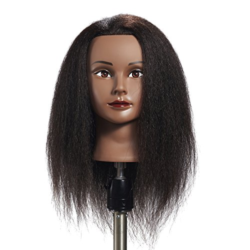 Hairginkgo 100% Real Hair Mannequin Head Hairdresser Training Head Manikin Cosmetology Doll Head (91711B0216) (Best Beauty Supply Hair For Sew In)
