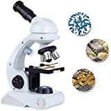 ToyerBee Microscope Kids Science Kit Beginner's Microscope Kit LED 80X 200x 450x Magnification Kids Science Toy Educational Toy Birthday Gift Blue/White - by