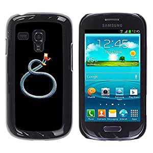 FlareStar Colour Printing Blue Teal Red Snake Minimalist Black cáscara Funda Case Caso de plástico para Samsung Galaxy S3 III MINI (NOT FOR S3!!!) / i8190 / i8190N