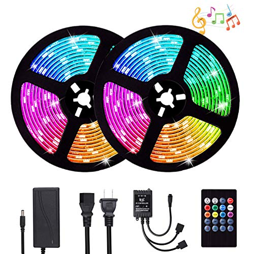 Led Strip Lights, ATTUOSUN Led Light Strip Sync to Music 32.8ft/10M 300Leds SMD5050 RGB Waterproof LED Rope Lights with IR Remote Controller DC12V 5A Power,Supply for Home Party Decoration