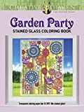 Sargent Art Fluorescent Gel Pens 10 Count, and Dover Creative Haven Garden Party Stained Glass Adult Coloring Book, Gift Bundle of 2 (Transparent Coloring Paper that Glows Like Stained Glass)