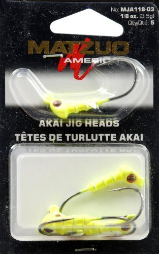 Matzuo Akai Jig Heads, Chartreuse, 1/8-Ounce