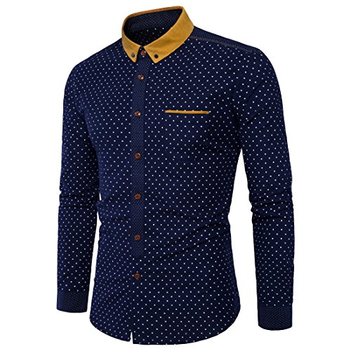 Amazon.com: GK Long Sleeves Slim Fit Dress Shirts Casual Tops Mens shirts cotton fashion long-sleeved: Sports & Outdoors