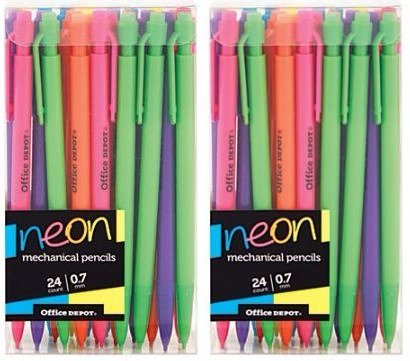 (Office Depot (TM) Mechanical Pencils, 0.7 mm, Neon Colors, 48 Count)