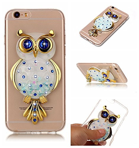 Price comparison product image iPhone 6S Case,  iPhone 6 Case, DAMONDY 3D Owl Bling Cute Diamond Glitter Liquid Floating Quicksand Water Flowing Ultra Clear Soft TPU Case for iPhone 6 / 6S (4.7 Inch) ONLY-Blue