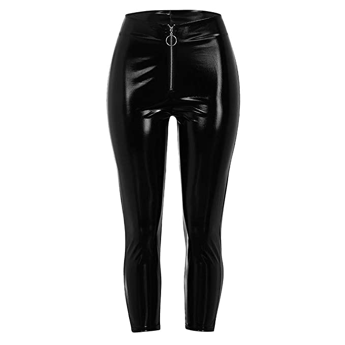 24debc3fdb4 JJLIKER Women High Waist Zipper Sexy Leather Pants Skinny Full Length  Trousers Party Clubwear Nightclub Pencil Leggings at Amazon Women s  Clothing store