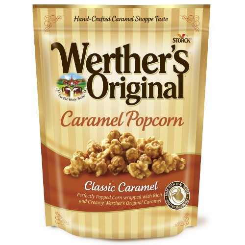 (WERTHER'S ORIGINAL Classic Caramel Popcorn, 6 Ounce Bag, Popcorn Bag, Great Snack, Delicious Snacks for Kids, Caramel Popcorn, Sweet Lunch Snacks, Gourmet Popcorn)