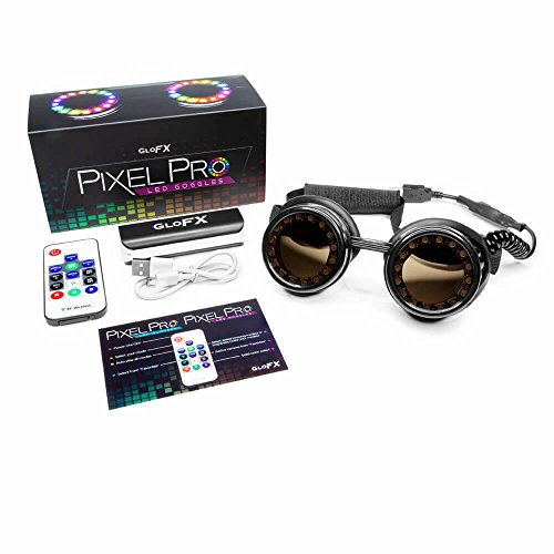 GloFX LED Pixel Pro Goggles [350+ Epic Modes] - Programmable Rechargeable Light Up EDM Festival Rave Party Sunglasses by GloFX (Image #8)