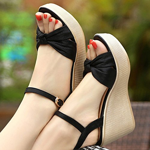 Sandales Femmes - Sandales Wedge Été Plate-forme Casual 9cm Chaussures À Talons Hauts Chaussures De Travail (couleur: Or, Taille: 39) Noir