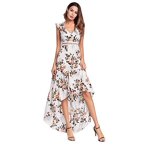 (ZOLLOR Womens Casual Sleeveless Bodycon Long Summer Dress,Floral Printed Sexy Backless High Low Tunic Cocktail Maxi Dress(l, White))