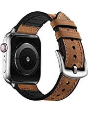 OUHENG Compatible with Apple Watch Band 42mm 44mm, Sweatproof Genuine Leather and Rubber Hybrid Band Strap Compatible with iWatch Series 6 5 4 3 2 1 SE, Brown Band with Silver Adapter