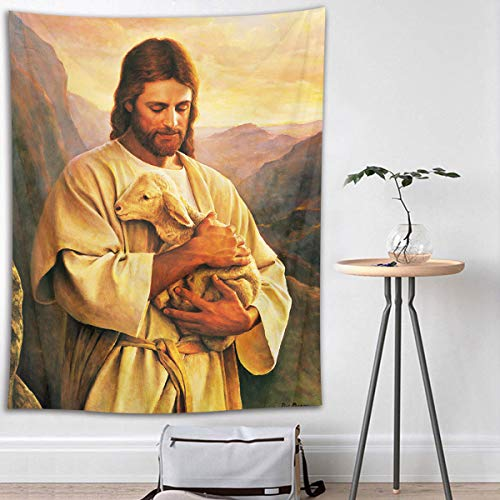 (HVEST Christian Tapestry Jesus Christ and Lamb in Mountain Wall Hanging Easter Tapestries for Bedroom Living Room Dorm Wall Decor Party Backdrop,40Wx60H inches)