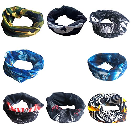[DOLAIMI 8 Pack Colorful Half Face Mask Skull Halloween Costumes Seamless Headband Bandana Neck Gaiter Skeleton Scarf Outdoor Wear Motorcycle Snowboard Biking Hiking Ski Multi- Functional] (Scarf Halloween Costumes)