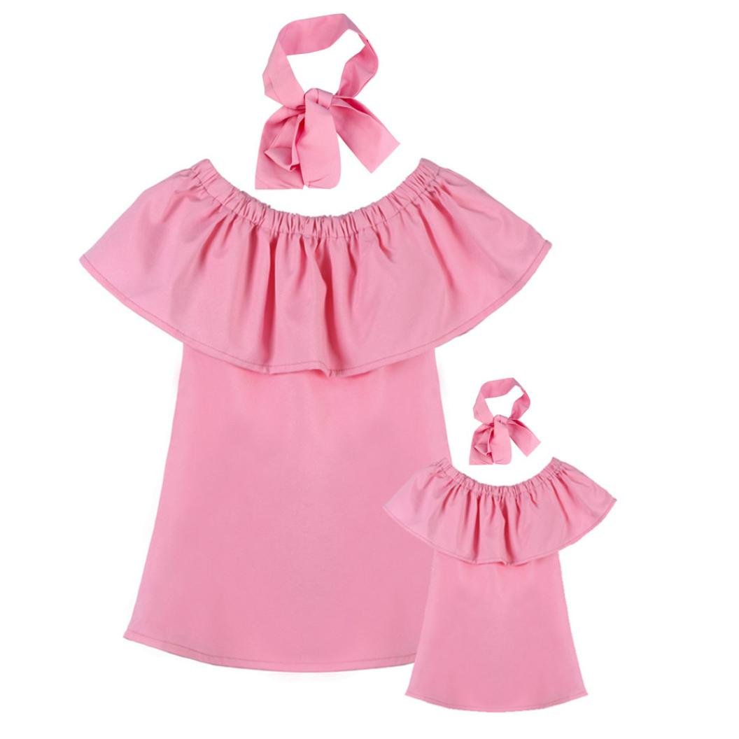 49b0afea88c4 Amazon.com  Sunbona Mommy and Me Baby Girl Fashion Solid Off ...