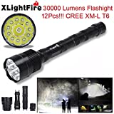 TOPUNDER XLightFire 30000 Lumens 12x CREE XML T6 5 Mode 18650 Super Bright LED Flashlight