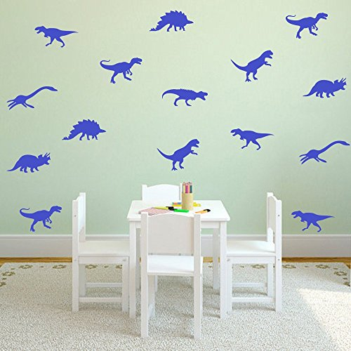 Amaonm® Set of 9 PCS Removable DIY Cute Cartoon Animals Vinyl Dinosaur Wall art Decor Decals Kids' Room Wall Stickers Murals Peel & Stick art for Living room Nursery Room Bedroom (Blue (Baby Dinosaur Cartoon)