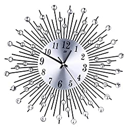 Blesiya Starburst Sunburst Retro Wall Clock, Silver&Gold, 13-30inch Dia, Sticker Clock, 3D Sticker Clock - #7