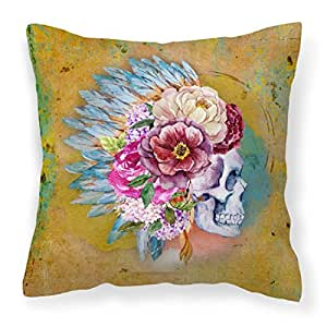 Caroline tesoros bb5129pw1818del día de los muertos calavera de flores Tejido decorativo almohada, multicolor, 18hx18W