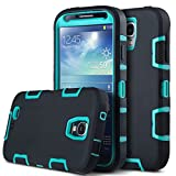 ULAK Robot Guard Shock Absorption Hybrid Rubber Combo Case with Rigid Plastic, Soft Silicone for Samsung Galaxy S4
