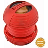 XBOOM Ceramic Mini Portable Capsule Speaker with Rechargeable Battery, Enhanced Bass+ and Ceramic Resonator - Red