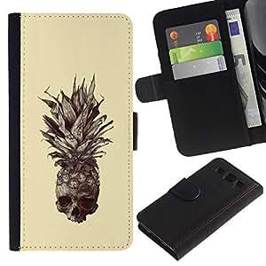 KLONGSHOP // Tirón de la caja Cartera de cuero con ranuras para tarjetas - Cráneo Piña - Samsung Galaxy S3 III I9300 //